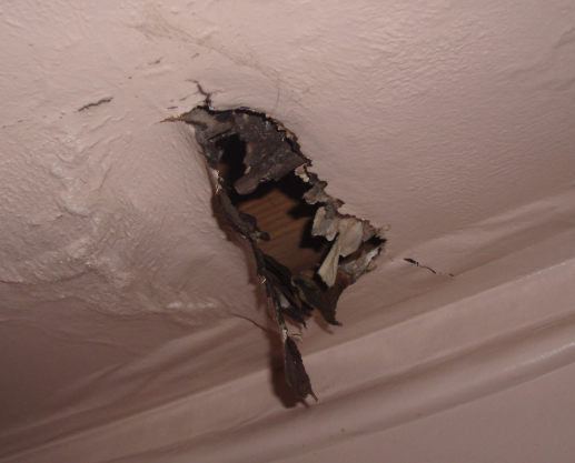 fire damage in ceiling