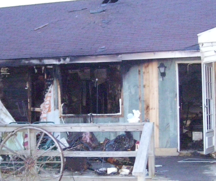 fire damage on exterior